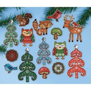 "Woodland Friends (14 Count) Design Works Plastic Canvas Ornament Kit 1"" Set of 15"