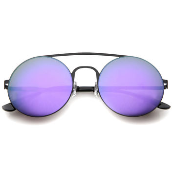 Modern Slim Round Mirrored Flat Lens Sunglasses A505