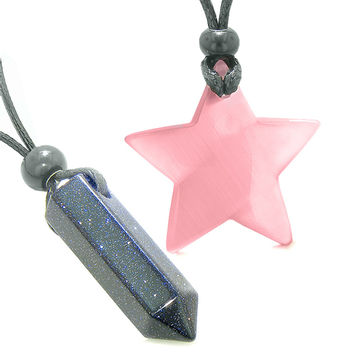 Amulets Lucky Crystal Point Magic Star Love Couples Blue Goldstone Pink Cats Eye Charms Pendant Necklaces
