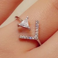 Glittering Arrow Rhinestone Cuff Ring (Gold, Slightly Adjustable)