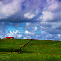 Landscape canvas, countryside, blue sky, blue and green, happy, bright, panoramic, fine art photography, summer, barn, 16x24, 24x36, 32x48