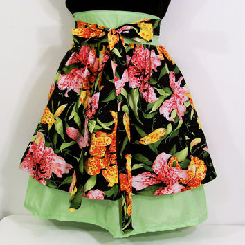 Women's Half Apron-Tiger Lily Double Skirt- -Made in the USA-