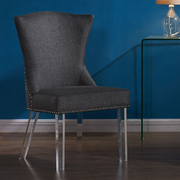 Armen Living Jade Modern and Contemporary Dining Chair in Charcoal Fabric with Nailheads and Acrylic Legs