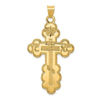 14k Yellow Gold Large Eastern Orthodox Cross Pendant, 26 x 50mm