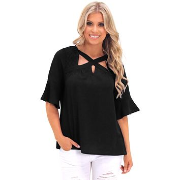 Black Crisscross Neck Lace Insert Bell Sleeve Top
