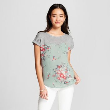 Women's Floral Print Short Sleeve Knit Woven Pocket T-shirt - Xhilaration™