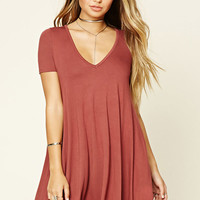 V-Neck Pocket Swing Dress
