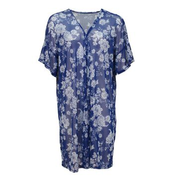 Urban Diction Blue & White Long Floral Kimono Wide Sleeves Cover Up