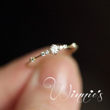 Explosion models 14K gold 7 small broken diamonds exquisite ladies engagement ring jewelry jewelry Ring