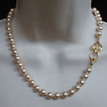 KJL Glass Pearl Necklace, Kenneth Jay Lane Logo Clasp, Creamy 9mm Pearls