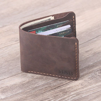 Custom  Men's Leather wallet -  Handmade Leather Wallet  -  Bifold Men's Wallet - Groomsamn Gift - Father's Day Gift
