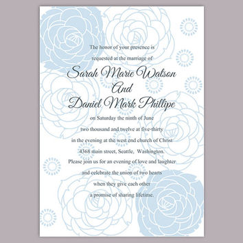 DIY Wedding Invitation Template Editable Word File Instant Download Printable Invitation Blue Invitation Flower invitation Rose invitation