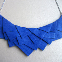 Electric Blue Leather Geo Necklace