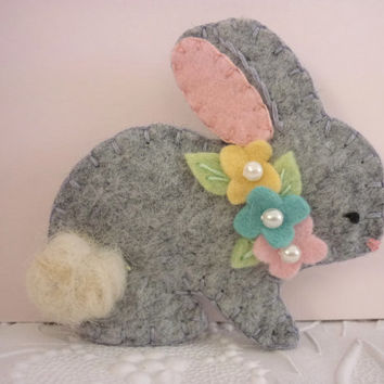 Felt Bunny Brooch Easter Spring Beaded Flowers Wool Rabbit Gray