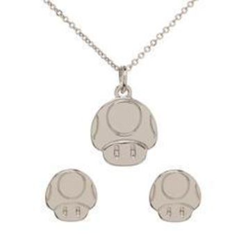 Super Mario Mushroom Necklace and Earrings Set
