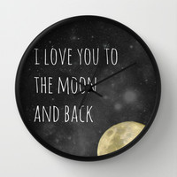 Love You to the Moon Wall Clock by LJehle