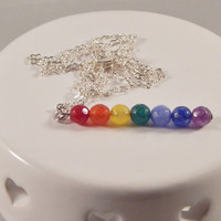 Chakra 7 core pendant - LGBT pride necklace - rainbow jewelry - autism/aspergers support - neuro diversity - energy, healing - agate beads