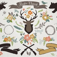 Rustic Clipart - Mountain clip art, rustic wedding, woodland clipart, rustic floral illustrations, commercial use, bear moose antler clipart