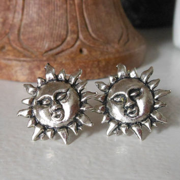 Silver Sun Earrings - Sun Stud Earrings - Silver Stud Earrings, Sun Post Earrings