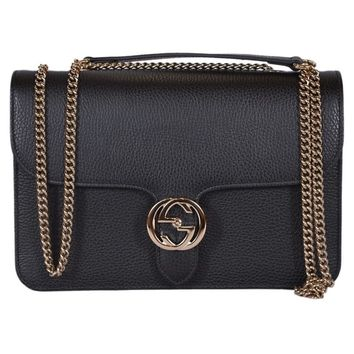 "Gucci 510303 Black Leather Interlocking GG Crossbody Purse Handbag - 11"" x 7"" x 2.5"" 