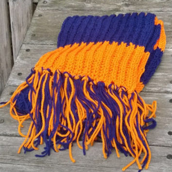 Knit Scarf - Chicago Football Fan Scarf - Orange and Blue - 6ft - Mens Scarf - Womans Scarf