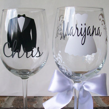 Personalized Bride/Bridesmaid and Groom/Groomsman wine glasses with dress and tux