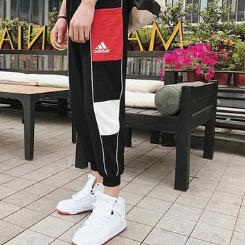 Adidas Stitching Black/White/Red trousers casual pants trousers running pants