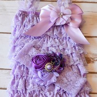 Girls cake smash outfit. Lavender lace baby, toddler 1st birthday romper with coordinating 2 inch lace, shabby chic headband