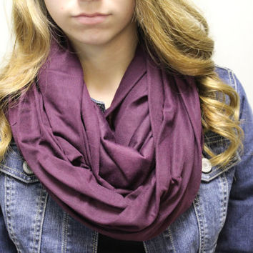 plum purple, basic, plain scarf, infinity, loop purple