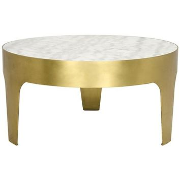 Chauncie  Round Coffee Table, Antique Brass, Metal and Quartz