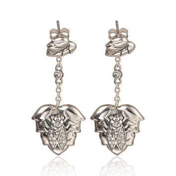S925 Sterling Silver Cicada  Earrings Drop Pendant with Swarovski Crystal fit European Style    ER1053H9