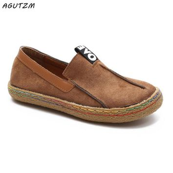 AGUTZM 2018 Plus Size 42 43 Women Loafers Shoes Round Toe Oxford Shoes for Woman Casual Soft Bottom Flats Wide Slip-on Shoes