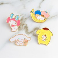 Trendy My melody pins Rabbit Bunny Moon Pins Brooches Backpack Denim jackets Jeans Bag Hat Decoration Accessories Cute pins for girl AT_94_13