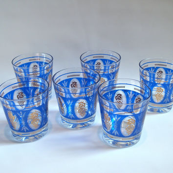 60s VINTAGE HOLLYWOOD REGENCY Drinking Glasses Set of Six 6 Blue Low Ball Tumblers Gold Leaf Golden Wheat and Grape Pattern by Hazel Atlas