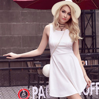 Fashion Solid Color Backless Sleeveless Strap Mini Dress