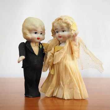 1930s Bisque Kewpie Doll Bride and Groom Vintage Wedding Cake Toppers