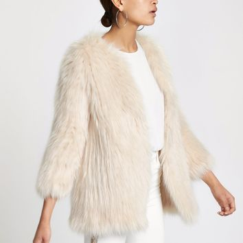 Cream knitted faux fur coat - Coats - Coats & Jackets - women