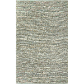 Naturals Solid Pattern Blue  Jute Area Rug (5x8)