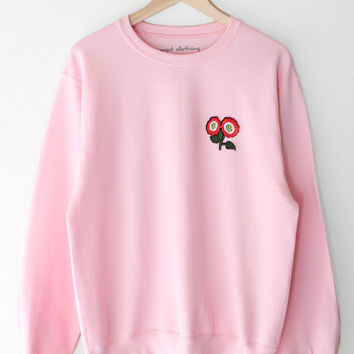 Flower Patch Oversized Sweater - Pink