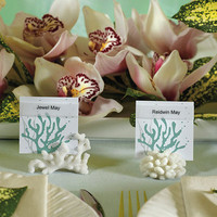 Coral Card Holders for Beach Themed Wedding