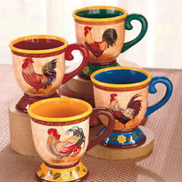 Set Of 4 Colorful Rooster Mugs Coffee Tea Cups Country Kitchen Earthenware New