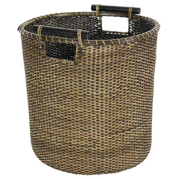 Oriental Furniture RV-B135S Rattan Beige and Tan 13.25-Inch Round Waste Bin