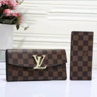LV Women Leather Purse Wallet Two Piece