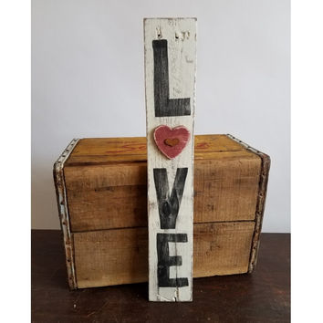 Shabby Love - Reclaimed Wood Wall Plaque with Heart Within A Heart - 18-in