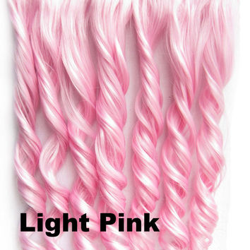 Light Pink Ombre Colorful Candy 5 Clip in Hair Extensions 1Weft=5pcs Body Wave Texture Hair Synthetic Hair Extension High Quality Wig