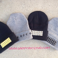 Studded Beanie Hat CHOOSE Stud Design & Color by ShopChicStud
