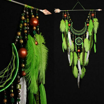 Dreamcatcher green dream catcher Arrow Copper Moon green dreamcatcher copper dreamcatcher native american Indian talisman boho wall decor