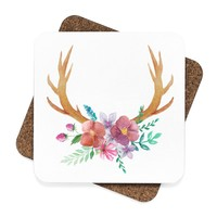 Cabin Decor Antlers Square Hardboard Coaster Set - 4pcs, Watercolor Drink Coasters