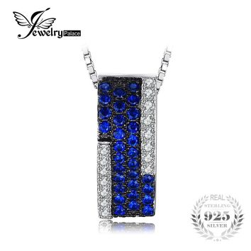 JewelryPalace 0.42ct Created Blue Spinel Cluster Cocktail Pendant Necklace 925 Sterling Silver 2017 Fine Jewelry Without Chain