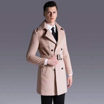 CHAOJUE Brand Europe High Quality S-6XL Wool Coat 2017 Latest Design Slim Fit Woolen Clothing Male Casual Business Winter Coats